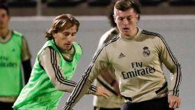 Modric y Kroos, en un entrenamiento del Real Madrid