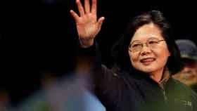 Tsai Ing-wen, presidenta de Taiwán, durante un acto de campaña.