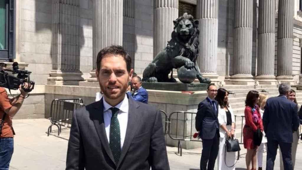 El diputado de Navarra Suma, Sergio Sayas, frente al Congreso.