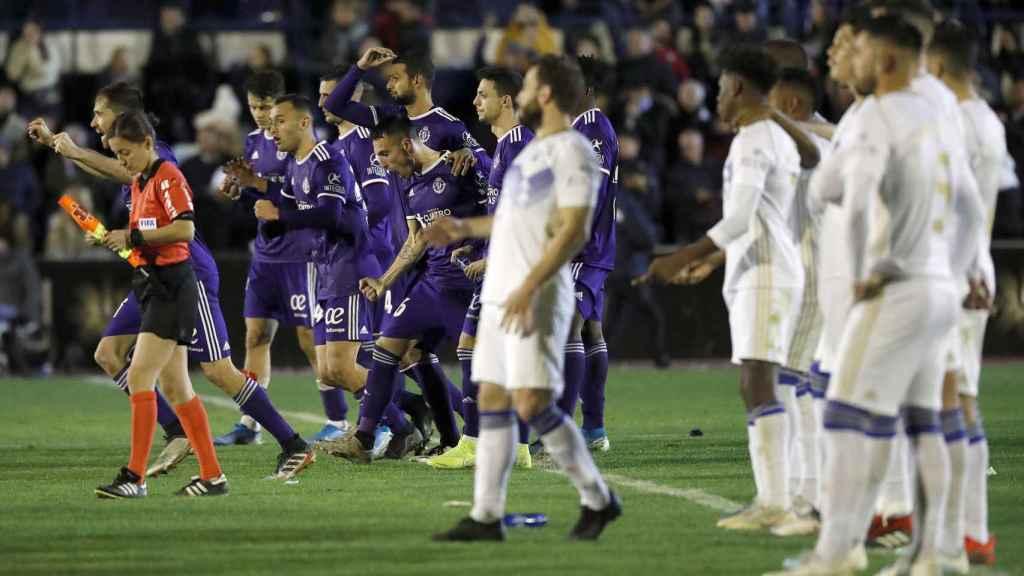 Los jugadores del Valladolid celebran la clasificación