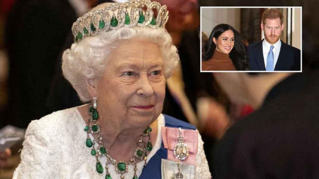 Isabel II junto a Meghan y Harry en montaje de JALEOS.