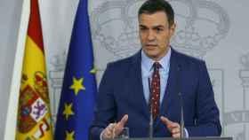 Pedro Sánchez, este domingo en el Palacio de la Moncloa.