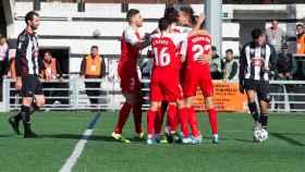 El Sevilla celebra un gol contra el UM Escobedo