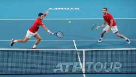 Djokovic y Troicki, durante el partido de dobles.