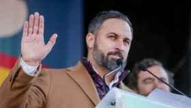 El presidente de Vox, Santiago Abascal, durante una concentración de la plataforma 'España Existe' frente al Ayuntamiento de Madrid.