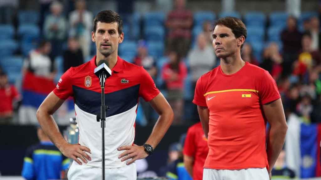 Novak Djokovic y Rafa Nadal, en la ATP Cup