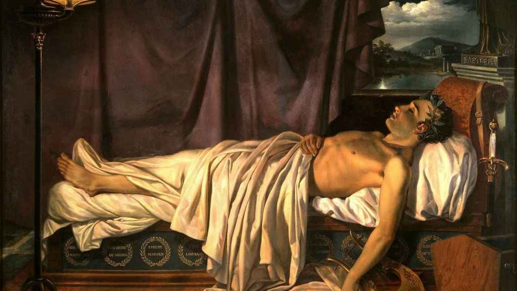 Byron en su lecho de muerte.