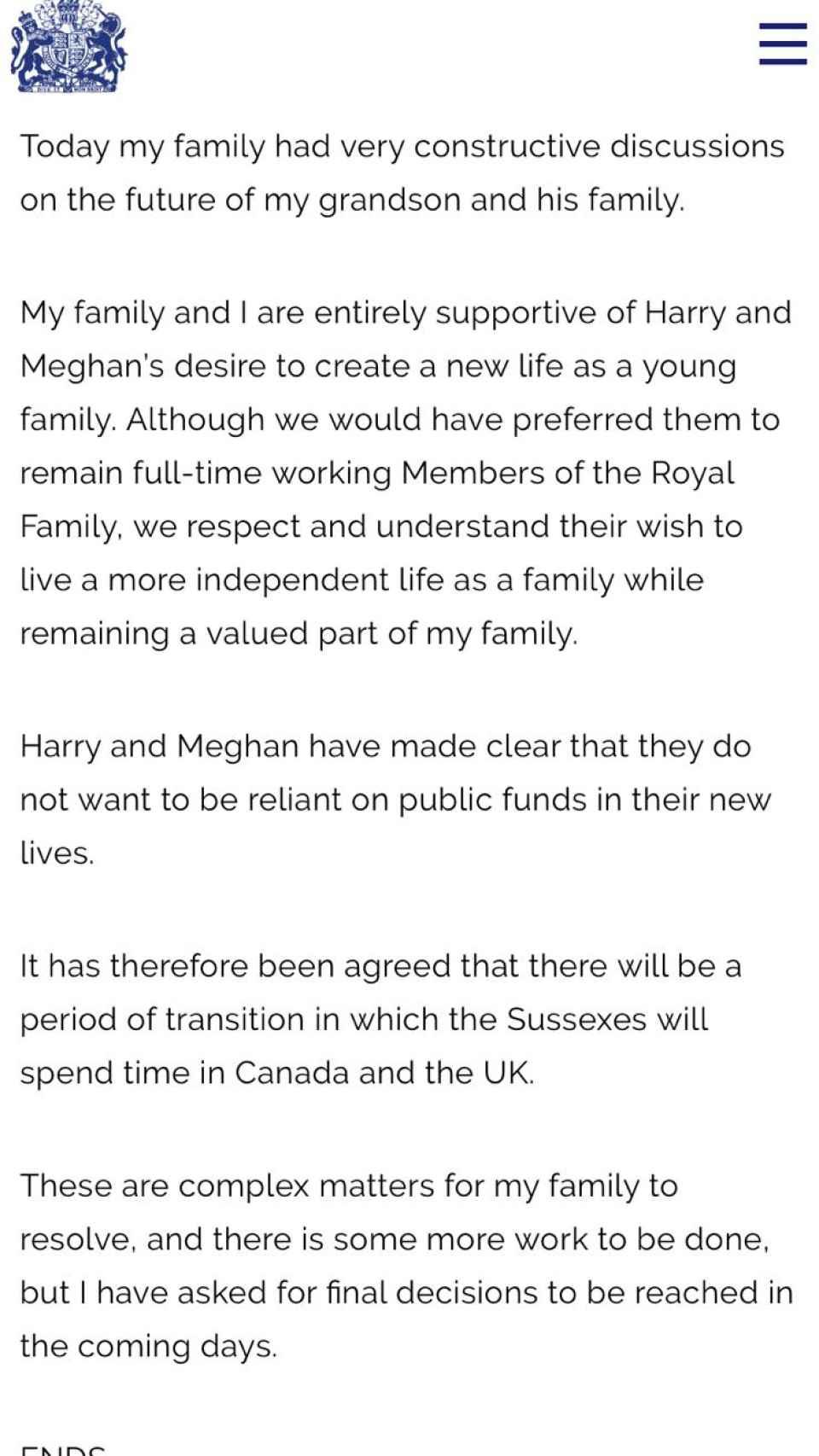 Comunicado de la reina Isabel II de Inglaterra sobre el futuro de Harry y Meghan.