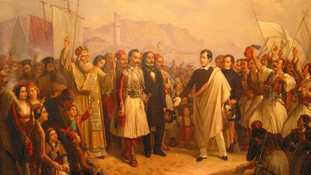 Lord Byron siendo recibido por los griegos.