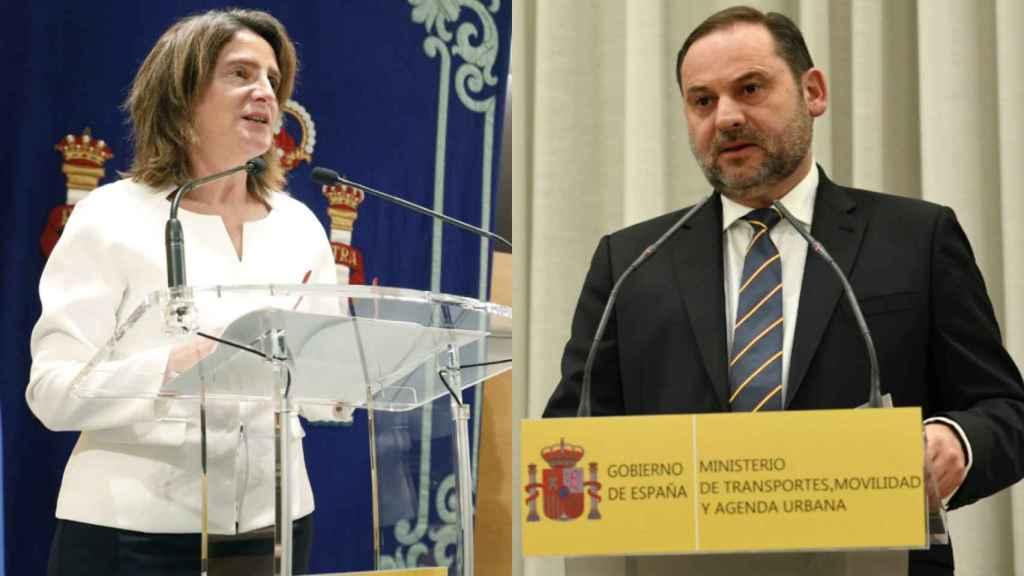 Teresa Ribera, ministra para la Transición Ecológica  y José Luis Ábalos, ministro de Transportes, Movilidad y Agenda Urbana.