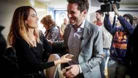 Borja Sémper, junto a su mujer, Bárbara Goenaga, tras anunciar que abandona sus cargos políticos.