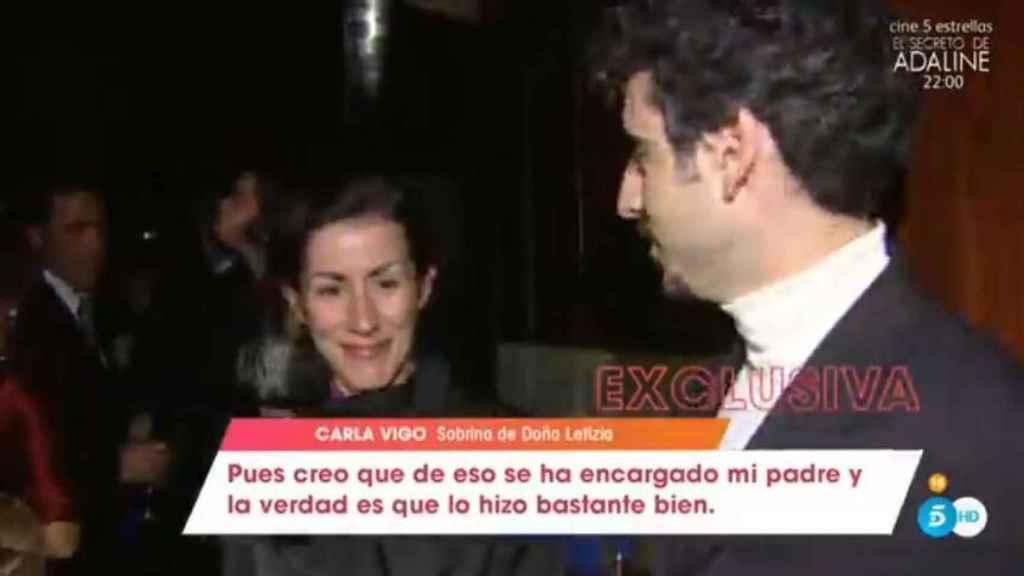 Carla Vigo hablando por el programa 'Viva la vida' de Telecinco.