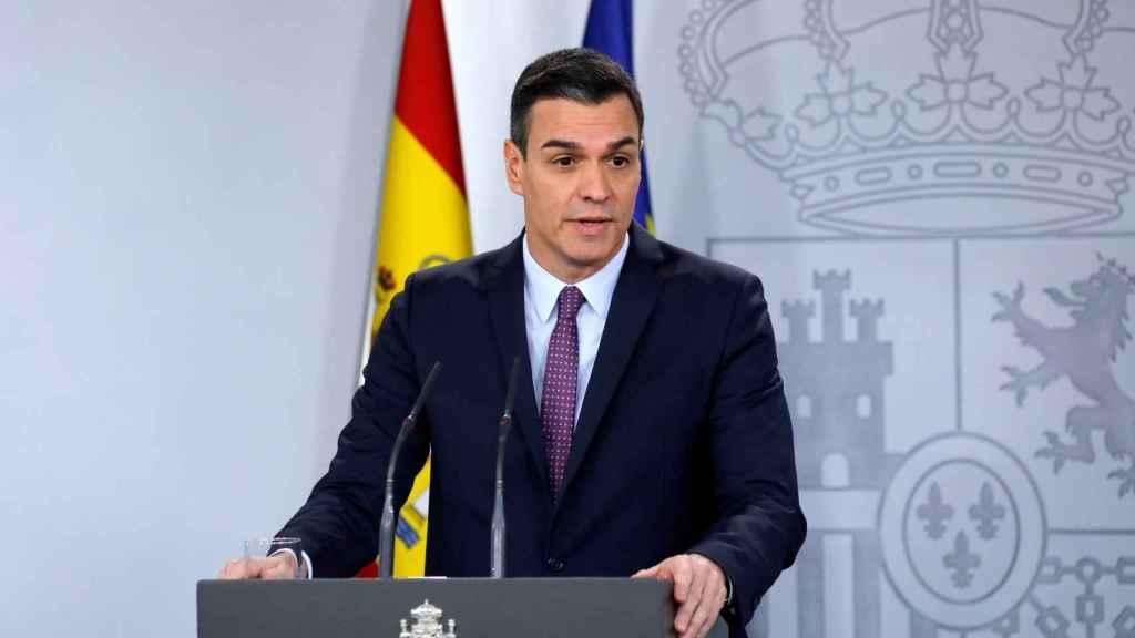 Pedro Sánchez durante la rueda de prensa tras el Consejo de Ministros.