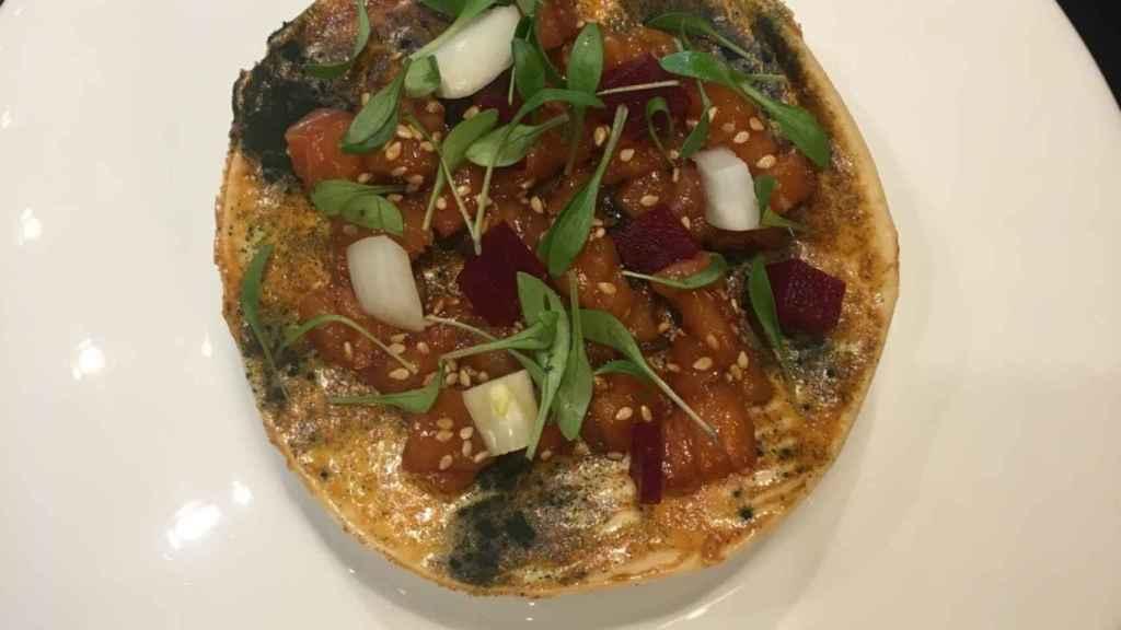 La pizza nori con tartar de salmón de Isabel Jimenez.