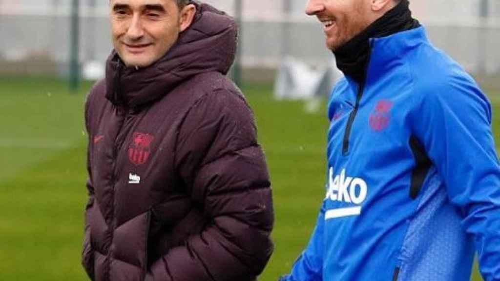 Ernesto Valverde y Leo Messi