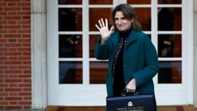 La vicepresidenta y ministra de Medio Ambiente y Despoblación Rural, Teresa Ribera, en el Palacio de la Moncloa.