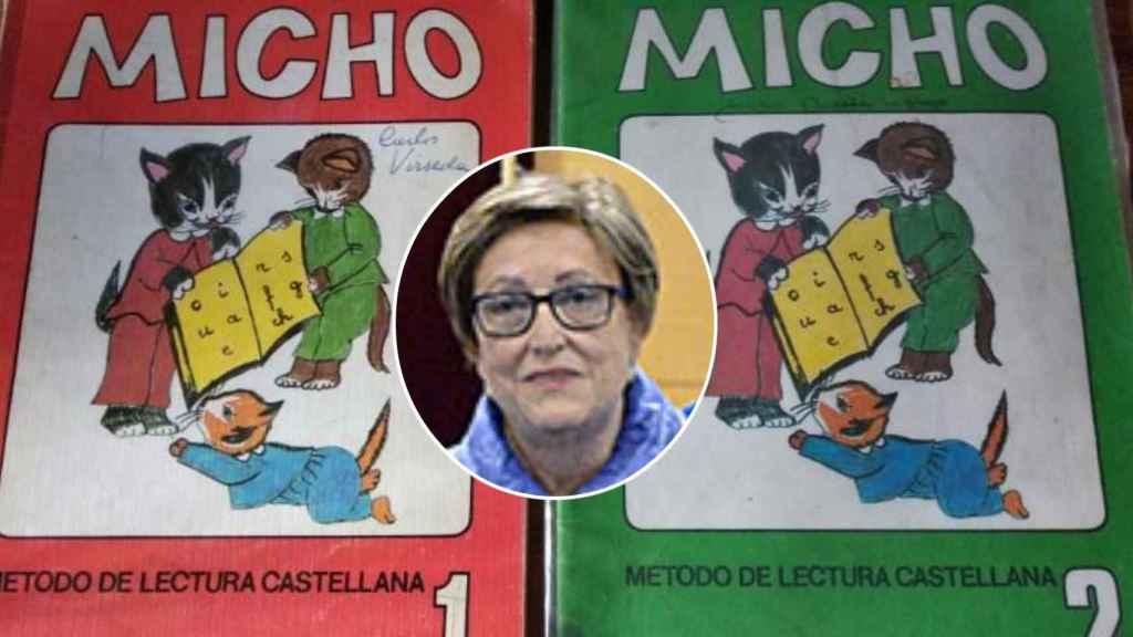 Maribel Sahuquillo, la maestra fallecida este martes, junto a las cartillas Micho que creó.