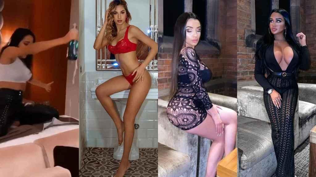 Marta Tejada agitando una botella, Chira Giuffrida, Amira Paula e Isa Rivera, las modelos de la fiesta