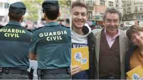 Dos guardias civiles, en una imagen de archivo; y dos de los denunciantes.