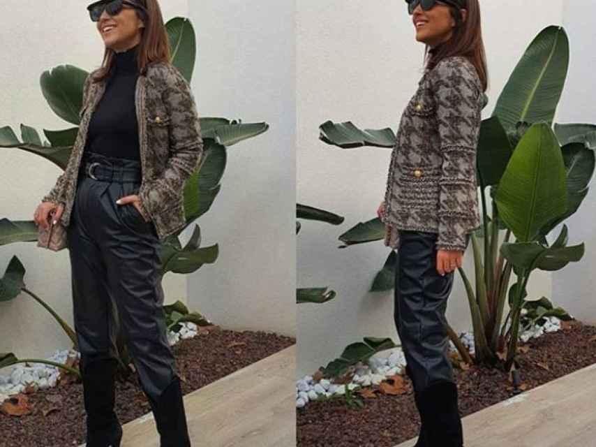 Paula Echevarría luciendo unos pantalones negros de una firma española.