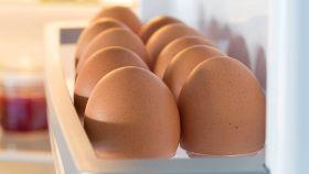 Unos huevos colocados en la huevera de la puerta del frigo.