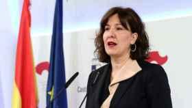Blanca Fernández, consejera portavoz del Gobierno de Castilla-La Mancha, este miércoles en rueda de prensa. Foto: Óscar Huertas