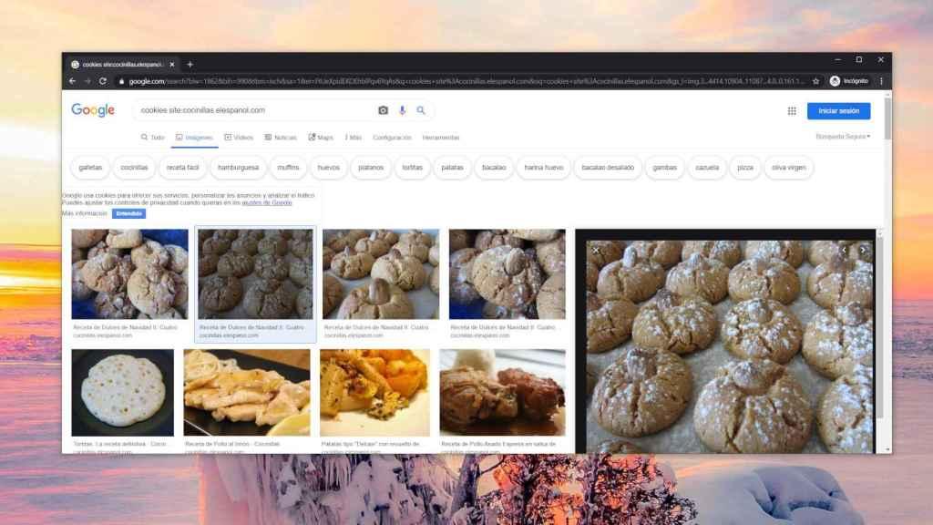 Navegador Chrome en la búsqueda de Google con el aviso de cookies