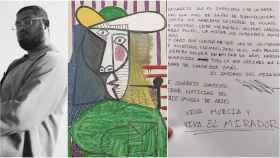 De izquierda a derecha: Shakeel Ryan Massey, el cuadro de Picasso dañado y la nota firmada.