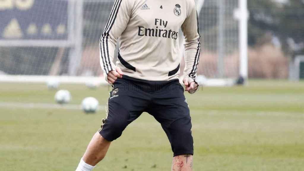 Sergio Ramos en el entrenamiento en solitario