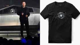 Camiseta impresa con el cristal roto del Cybertruck