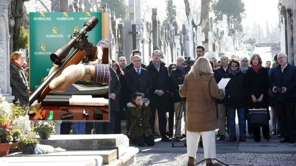 Homenaje a Gregorio Ordóñez en el cementerio de Polloe; a la izquierda, rifle intervenido al etarra.