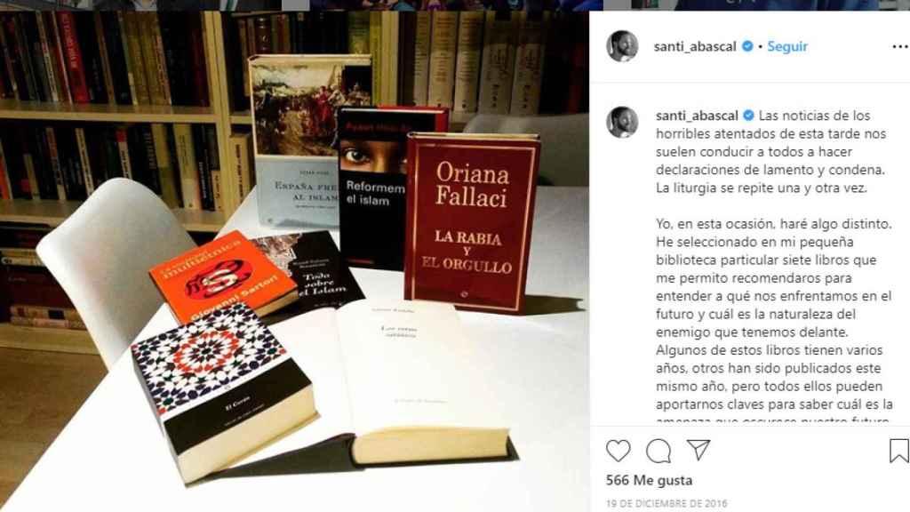 Recomendaciones literarias de Abascal sobre el islam.