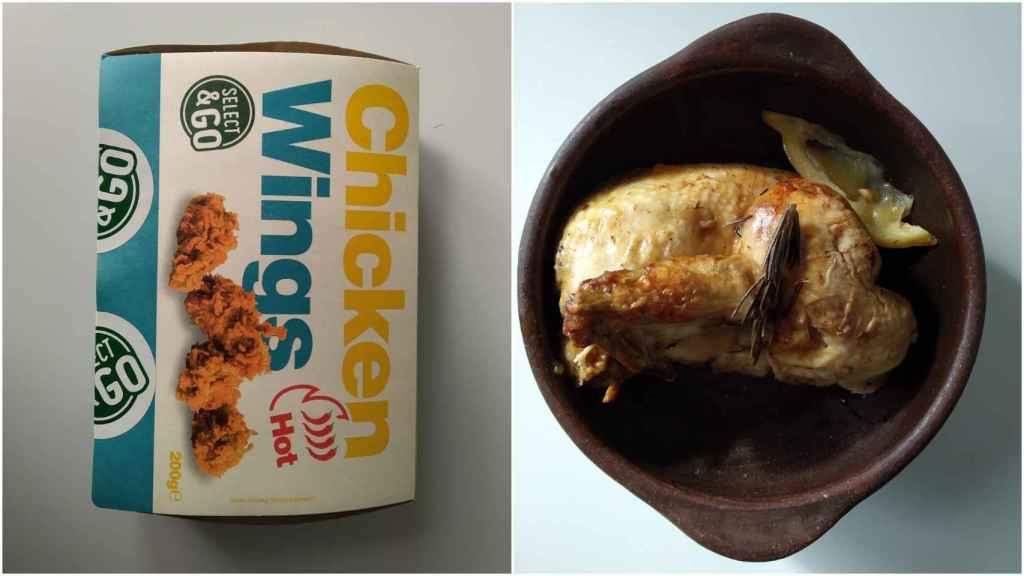Alitas de pollo picantes y medio pollo del Lidl.