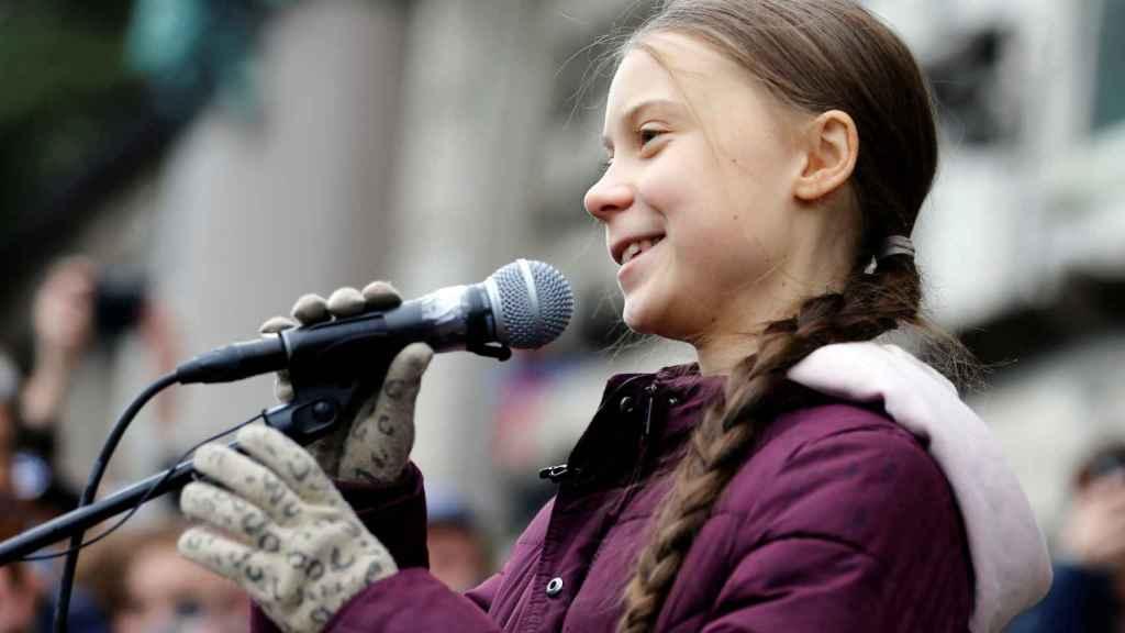 La activista sueca Greta Thunberg en Lausana (Suiza).