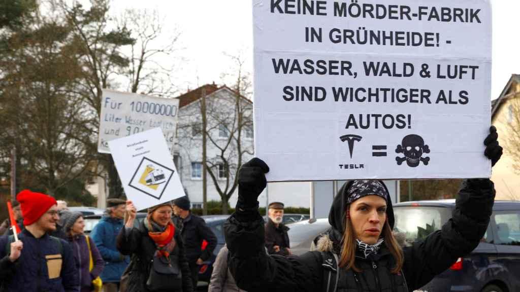 Protestas contra la apertura de la fábrica de Tesla en Alemania