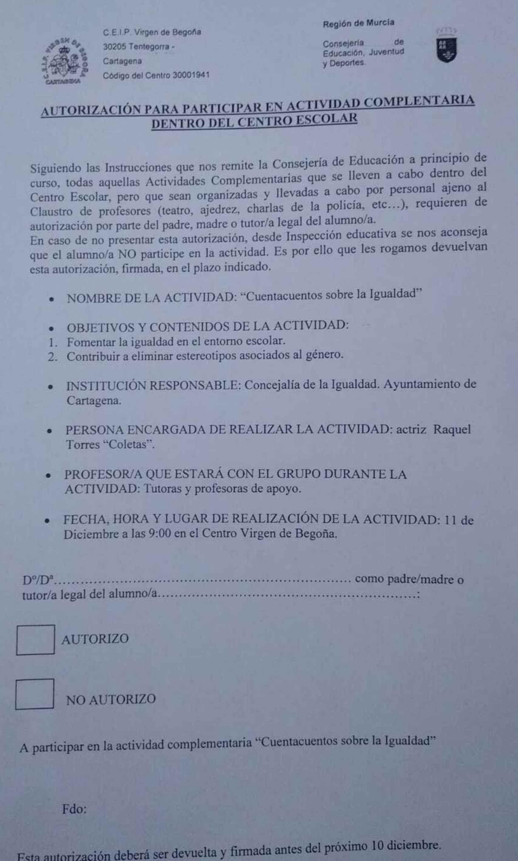 Modelo de pin parental que tienen que entregar los docentes de un colegio de Cartagena