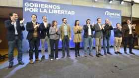 Fernando López Miras junto Pablo Casado, y Teodoro García, en el inicio del acto 'Gobiernos por la libertad'.