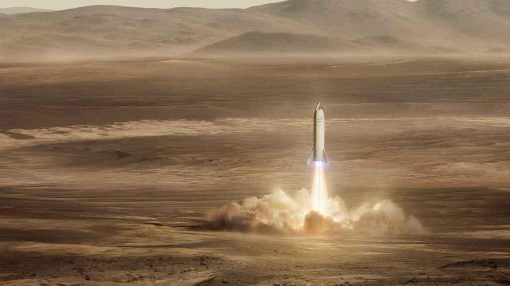 Nave Starship en Marte.