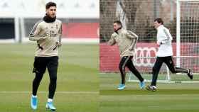 Marco Asensio y Eden Hazard, durante el entrenamiento de este lunes