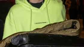 Alba Díaz en el aeropuerto de Madrid.