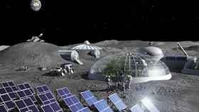 Base Lunar, con paneles solares y producción de comida