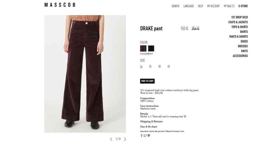 Los pantalones que escogió Tamara, en la página web de la firma gallega.