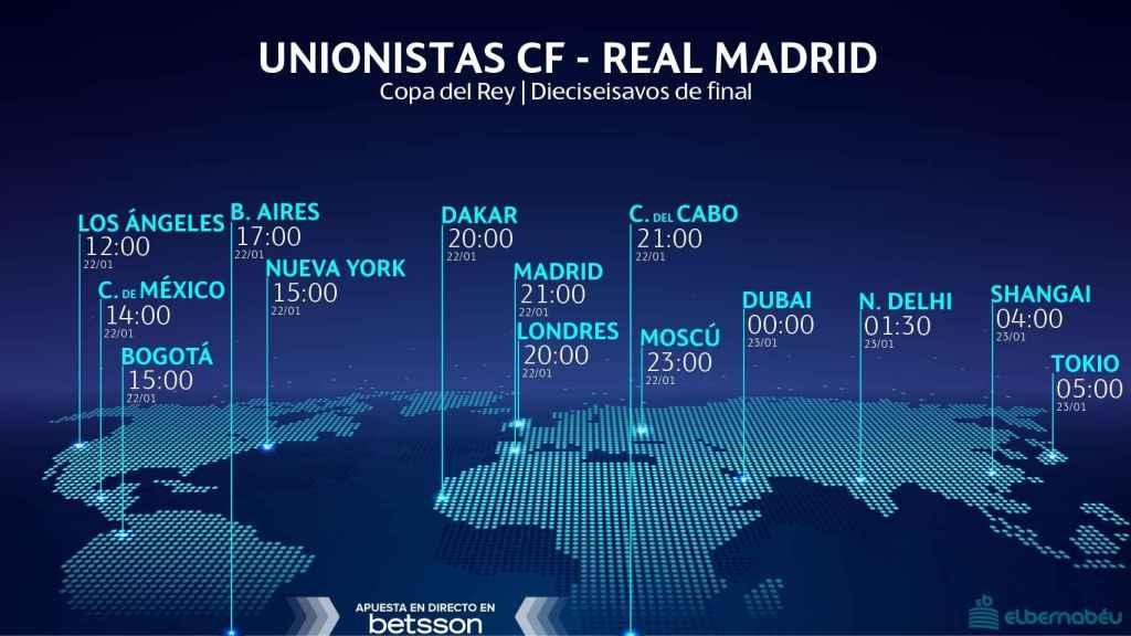 Horario Unionistas - Real Madrid