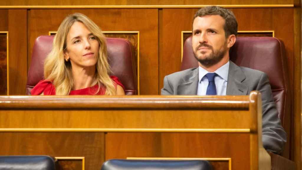 Cayetana Álvarez de Toledo, portavoz del PP en el Congreso, junto a Pablo Casado, presidente del Partido.
