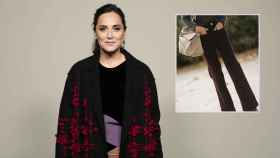 Los pantalones que ha escogido Tamara Falcó, en un montaje de JALEOS.