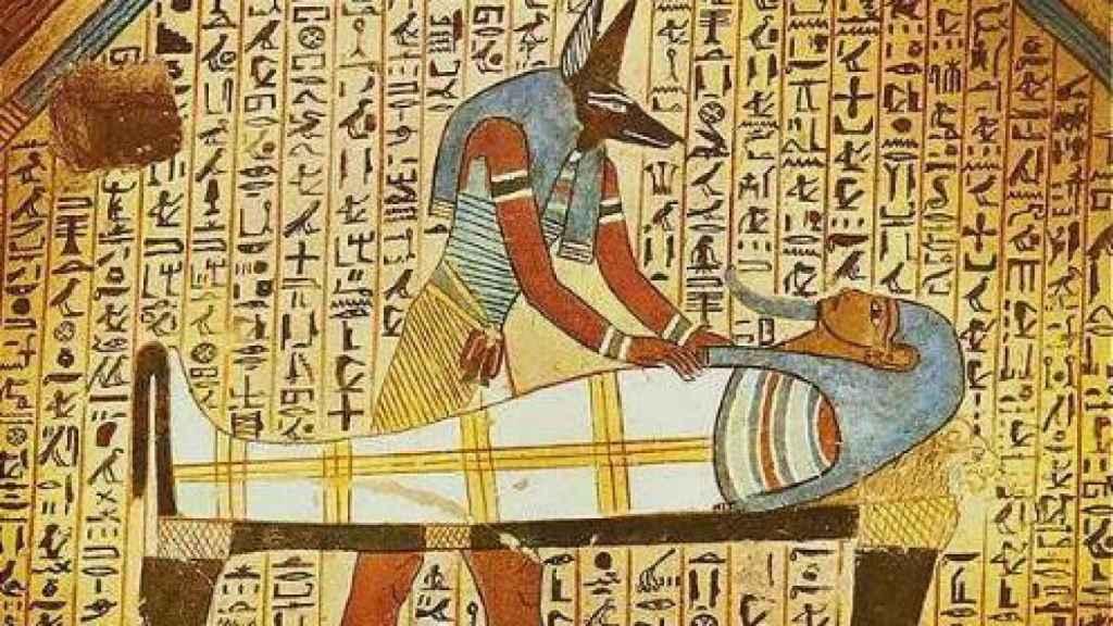 Anubis embalsamando a Osiris
