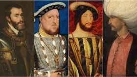 Carlos V, Enrique VIII, Francisco I y Solimán el Magnífico.