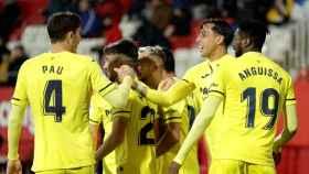 Los goles del Villarreal celebran uno de los goles del partido