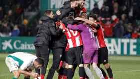 El Athletic celebra la victoria ante el Elche
