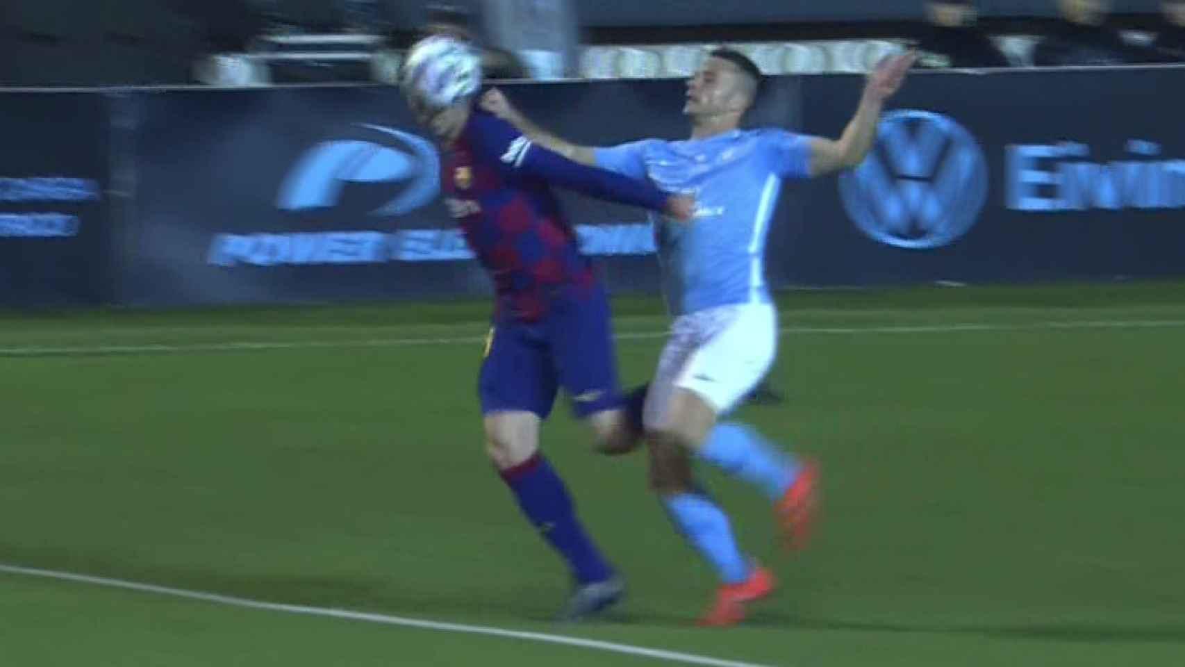 Falta de Rodado sobre Lenglet en el UD Ibiza - FC Barcelona de la Copa del Rey